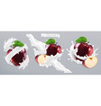 apple and milk splash yogurt 3d realistic icon vector image