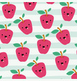 apples kawaii fruits pattern set on decorative vector image
