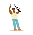 black man raising his hands with guns to surrender vector image vector image