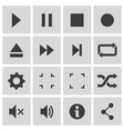 black media player icons set vector image vector image