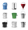 buckets assortment household plastic and metal vector image vector image