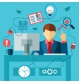 business man in formal suit sitting at the desk vector image