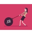 Businesswoman dragging a weight Job on chain vector image vector image