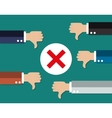 cartoon Businessmans hands hold thumbs down vector image