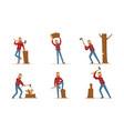 cartoon character lumberjack in plaid shirt in vector image vector image