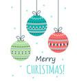 christmas card with cartoon ball vector image