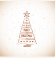 christmas tree made sawn wood board in vintage vector image