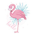 cute flamingo with sunglasses glasses pineapple vector image vector image