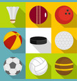 different equipment for outdoor games icons set vector image vector image