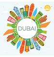Dubai Skyline with Color Buildings Blue Sky vector image vector image