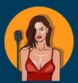 female singer in karaoke jazz or blues club live vector image