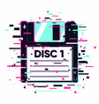 floppy disc with glitch effect information data vector image vector image