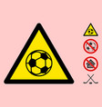 football warning triangle sign icon vector image vector image