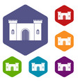 fortress with gate icons set hexagon vector image vector image