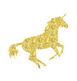 gold unicorn mythical horse vector image vector image