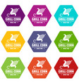 grill corn icons set 9 vector image