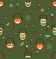 halloween candy basket pattern vector image vector image