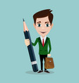 handsome businessman with pencil vector image vector image