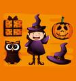 happy halloween card set icons vector image
