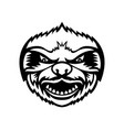 head angry sloth front view mascot retro black vector image vector image