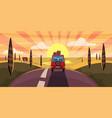 highway travel summer sunset sea road car vector image