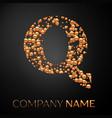 letter q logo gold dots alphabet logotype vector image
