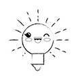 light bulb cartoon smiley vector image