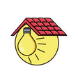 light bulb with roof isolated icon vector image vector image