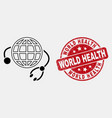 linear global medical service icon and vector image vector image