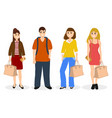 man and three women with bags and backpack vector image vector image