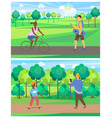 man and woman on transport in park leisure vector image vector image