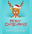 merry christmas background with reindeer vector image vector image