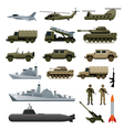 Military Vehicles Object Set Side View vector image vector image