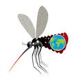 Mosquito Virus Zika Big mosquito overtook planet vector image
