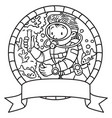 oceanographer or diver coloring book or emblem vector image vector image