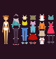 paper doll cute toys female doll with various vector image