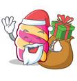 santa with gift marshmallow character cartoon vector image