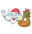 santa with gift router placed on wooden cartoon vector image vector image