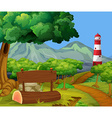 Scene with forest and lighthouse vector image vector image