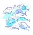 sea fish marine background doodle design vector image