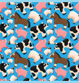 seamless pattern with cute farm animals vector image