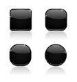 set of black buttons web shiny 3d icons vector image