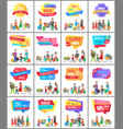 set of promo label on posters with people shopping vector image vector image
