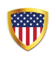 shield gold edge with usa flag vector image vector image