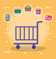 shopping cart with set commercial icons vector image vector image