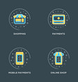 shopping payments mobile payments online shop set vector image vector image