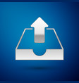 silver upload inbox icon isolated on blue vector image vector image