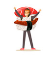 smiling man wearing sashimi sushi costume vector image