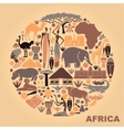 Symbols of Africa in the form of a circle vector image vector image