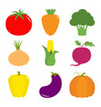 vegetable icon set pepper tomato carrot vector image vector image